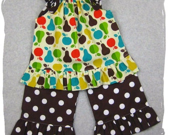 Custom Boutique Baby Girl Clothing Apple Pears Top Ruffle Pant Bottom Outfit Set 3 6 9 12 18 24 month size 2T 2 3T 3 4T 4 5T 5 6 7 8