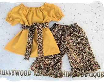 Custom Boutique Clothing Leopard Mustard Gold Peasant Dress Top Ruffled Pant Outfit Set 3 6 9 12 18 24 month 2T 2 3T 3 4T 4 5T 5 6 7 8