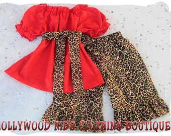 Custom Boutique Clothing Clothes Leopard Red Peasant Dress Top Ruffled Pant Outfit Set 3 6 9 12 18 24 month Size 2T 2 3T 3 4T 4 5T 5 6 7 8