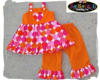 Custom Boutique Clothing Disco Dot Twirl Dress Top Orange Ruffle Pant Bottom Outfit Set 3 6 9 12 18 24 month size 2T 2 3T 3 4T 4 5T 5 6 7 8