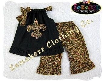 Custom Boutique Clothing Black Pillowcase Tunic Dress Top Leopard Ruffle Pant Outfit Set 3 6 9 12 18 24 month size 2T 2 3T 3 4T 4 5T 5 6 7 8