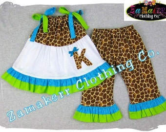 Girl Giraffe Outfit - Lime Aqua Baby Girl Clothes- Giraffe Top Ruffle Pant Outfit Set 3 6 9 12 18 24 month size 2T 2 3T 3 4T 4 5T 5 6 7 8