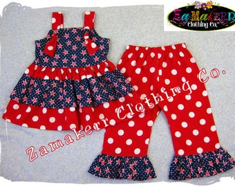 Custom Boutique Red White Blue Twirl Knot Tie Dress Top Polka Ruffle Pant Bottom Outfit 3 6 9 12 18 24 month size 2T 2 3T 3 4T 4 5T 5 6 7 8