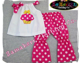Custom Boutique Clothing White Pillowcase Dress Top Pink Polka Dot Pant Outfit Set 3 6 9 12 18 24 month size 2T 2 3T 3 4T 4 5T 5 6 7 8
