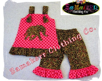 Girl Elephant Outfit Set - Custom Boutique Clothing - Top Ruffle Pant Bottom Outfit Set 3 6 9 12 18 24 month size 2t 2 3t 3 4t 4 5t 5 6 7 8