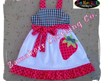 Girls Dresses Custom Boutique Clothing Gingham Dot Strawberry Aline Jumper Ruffle Dress 3 6 9 12 18 24 month size 2T 2 3T 3 4T 4 5T 5 6 7 8