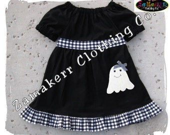 Custom Boutique Clothing Halloween Ghost Trick or Treat Peasant Black White Dress Outfit Set 3 6 9 12 18 24 month size 2T 3T 4T 5T 6 7 8