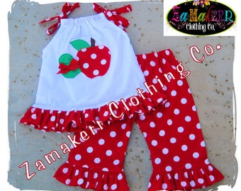 Girl Clothing Back To School Pillowcase Top Preschool Pant Outfit Set 1st Day of Kindergarten 12 18 24 month size 2T 3T 4T 5T 6 7 8 Apple