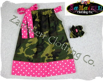 Girls Pillowcase Dress - Military N Pink Dots - Pillowcase Dress in Sizes 3, 6, 9, 12, 18, 24 month, 2, 2t, 3t, 3, 4, 4t, 5, 6, 7, 8