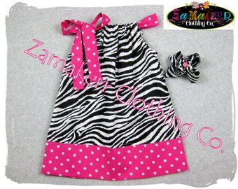 Girls Pillowcase Dress Zebra and Pink Polka Dot Accent in Sizes 3mo - 8 Free Shipping