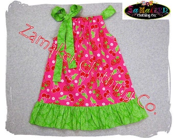 Girls Pillowcase Dress - STRAWBERRY- Pillowcase Dress in Sizes 3, 6, 9, 12, 18 month