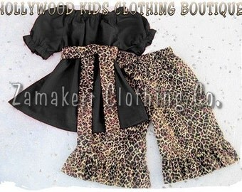 Custom Boutique Clothing Girl Leopard Black Peasant Dress Top Ruffled Pant Outfit Set 3 6 9 12 18 24 month 2T 2 3T 3 4T 4 5T 5 6 7 8