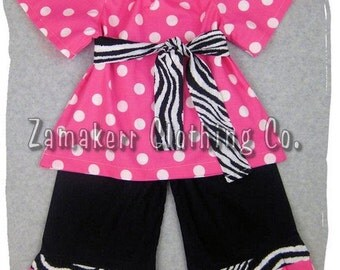 Custom Boutique Clothing Pink Polka Dot Peasant Top Black Zebra Ruffle Pant Outfit Set 3 6 9 12 18 24 month size 2T 2 3T 3 4T 4 5T 5 6 7 8