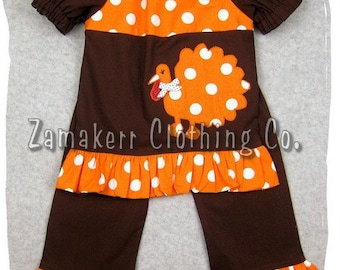Custom Boutique Clothing Girl Thanksgiving Turkey Top Pant Outfit Set Fall Toddler Infant Baby 3 6 9 12 18 24 month size 2T 3T 4T 5T 6 7 8