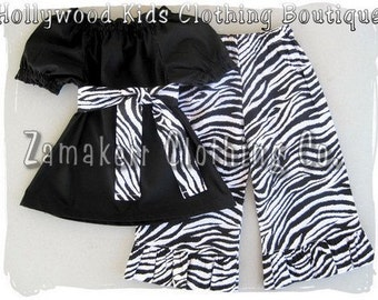 Custom Boutique Clothing Peasant Dress Top BIRTHDAY Zebra Ruffled Pant Outfit Set 3 6 9 12 18 24 month size 2 T 3 4 5 6 7 8 t