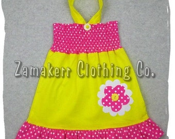 Custom Boutique Clothing Hot Pink Dots Yellow Daisy Floral Tunic Smocked Ruffle Dress 3 6 9 12 18 24 month size 2T 2 3T 3 4T 4 5T 5 6 7 8
