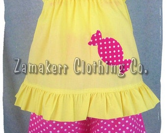 Custom Boutique Girl Clothing Yellow Candy Top Hot Pink Polka Dot Ruffle Pant Outfit Set 3 6 9 12 18 24 month size 2T 2 3T 3 4T 4 5T 5 6 7 8