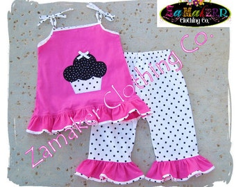 Girl Birthday Outfit Set - Polka Girl Outfit - Baby Girl Clothes - Girl Pant Set 3 6 9 12 18 24 month size 2T 2 3T 3 4T 4 5T 5 6 7 8