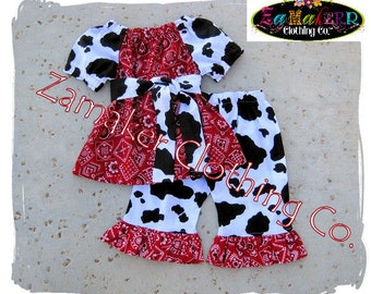 Girl Cow Outfit Set - Girl Farm Birthday Party - Cow N Bandana Top Ruffle Pant Set 3 6 9 12 18 24 month size 2t 2 3t 3 4t 4 5t 5 6 7 8