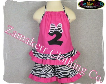 Minnie Mouse Clothing - Minnie Clothes - Boutique Zebra Pink Top Ruffle Pant Outfit Size 3 6 9 12 18 24 month size 2T 2 3T 3 4T 4 5T 5 6 7 8