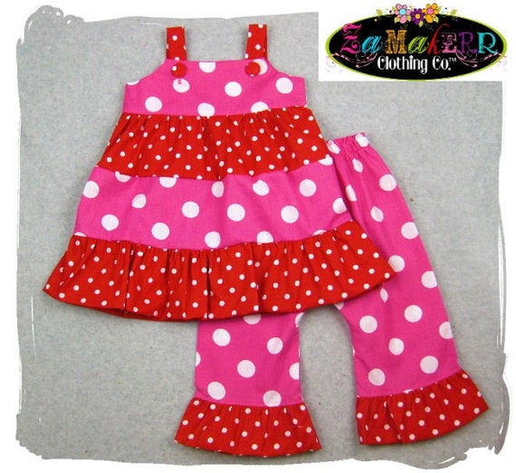 Custom Boutique Clothing Valentines Day Tiered Twirl Top Polka Ruffle Pant Outfit Set 3 6 9 12 18 24 month size 2T 2 3T 3 4T 4 5T 5 6 7 8