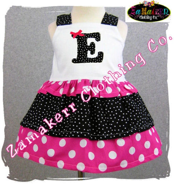 Custom Boutique Clothing Black N Pink Dots Tiered Twirl Jumper Ruffle Tunic Dress 3 6 9 12 18 24 month size 2T 2 3T 3 4T 4 5T 5 6 7 8