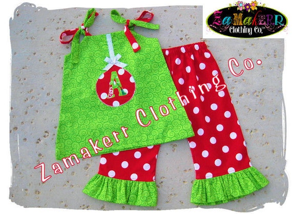 Custom Boutique Clothing Cute Christmas Aline Jumper Dress Top Ruffle Pant Outfit Set 3 6 9 12 18 24 month size 2T 2 3T 3 4T 4 5T 5 6 7 8