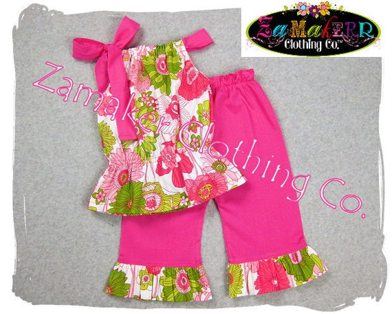 Girls Clothing Custom Boutique Floral Bubble Top Dress Top Pink Ruffle Pant Outfit Set 3 6 9 12 18 24 month size 2T 2 3T 3 4T 4 5 6 7 8