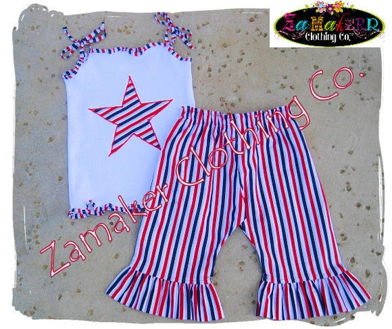 4th of July Girl Outfit Set - Patriotic Pant Set - Memorial Day - Fourth of July 3 6 9 12 18 24 month size 2T 2 3T 3 4T 4 5T 5 6 7 8