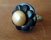 Yellow Pearl Flower Vintage Button Ring