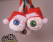 Jolly Eye-Bally Hand Painted Crocheted Christmas Ornament  Your Choice of Eye Color