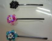 Set of three swarovski bobbies (hair pin)