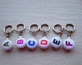 Alphabet Stitch Markers w\/white beads