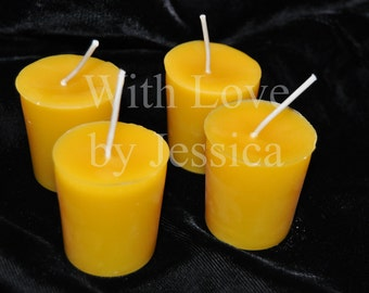 Handmade Natural Beeswax Candle - Set of 4 Votive Candles
