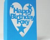 Hand-Cut 'Happy Birthday Foxy' Card