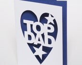 Top Dad Hand Cut Fathers Day Card - You Choose Colour