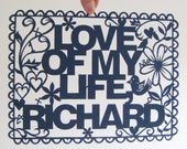 Personalized Papercut Poster - Hand Cut To Order - Valentines or Wedding Day