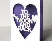 Papercut Anniversary or Wedding Card - To The Moon And Back - White or Black