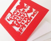I Love You More Than My iPhone Valentines or Anniversary Papercut Greetings Card