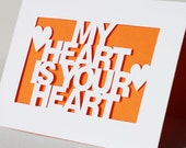 Hand Cut Wedding or Anniversary Card - My Heart Is Your Heart - Papercut Any Colour