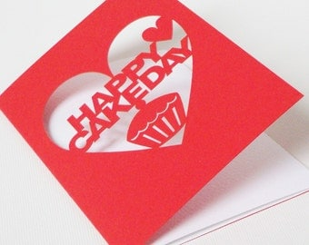 Happy Cakeday Papercut Birthday Card Red or Purple