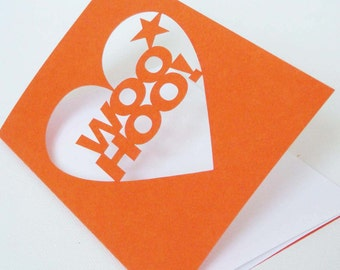 Woo Hoo Cut Out Celebration Greetings Card