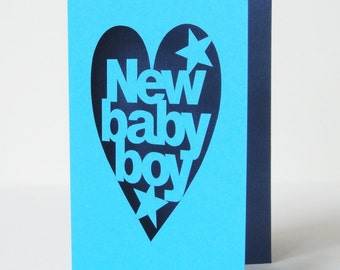 New Baby Boy Cut Out Congratulations Card