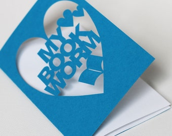 Papercut Valentine's Day Greeting Card - My Book Worm - Hand Cut In Any Colour