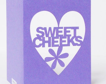 Sweet Cheeks Papercut Valentine Card - Purple Red or Black