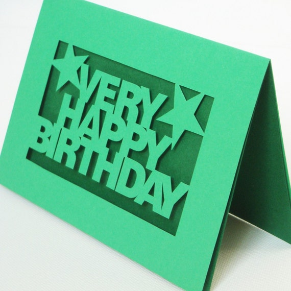 Very Happy Birthday Hand Cut Greetings Card