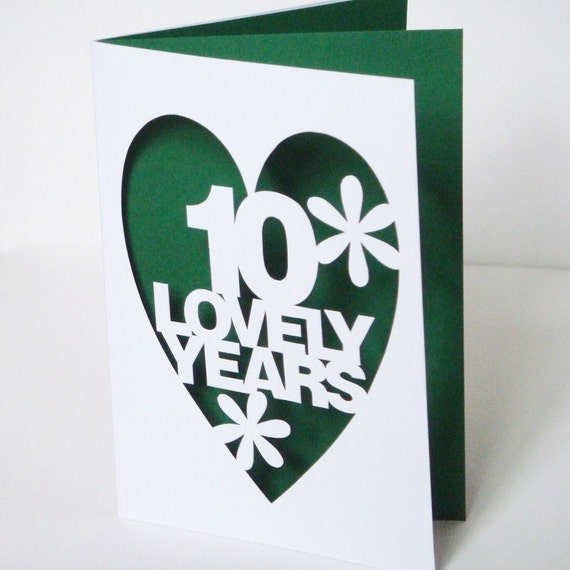 Papercut Personalised Anniversary Card - Hand Cut To Order Any Colour