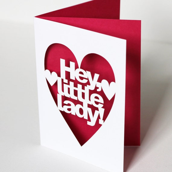 Hey Little Lady Papercut New Baby Girl Congratulations Card