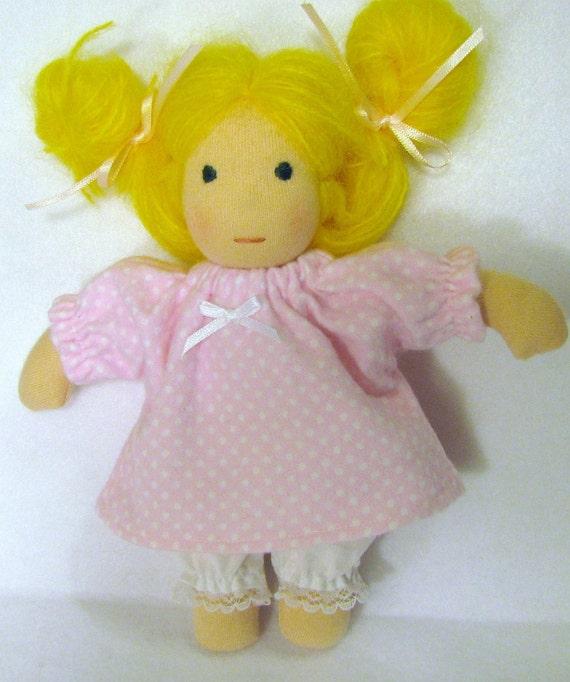 8 inch Waldorf doll's sleep set in pink polka dots