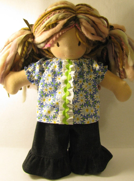 SALE 16 inch Waldorf style peasant top in bright daisy print